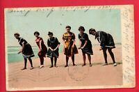COMIC WOMEN SWIMMING SUITS  ON BEACH 1906 BONNEY STOCKTON CA  DET PUB  POSTCARD
