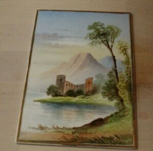 ANTIQUE ENGLISH HAND PAINTED PLAQUE TINTERN ABBEY