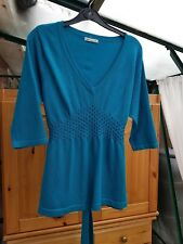 Pretty 'Select' Blue Top, 3/4 Sleeves, V Neck, Size 12, Good Condition