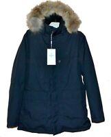 Quarz Co Canada Navy Men's Duck DOWN Coyote Fur Hood Power Heat Jacket Sz XL