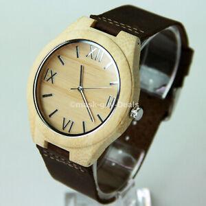Mens Wooden Watch Analog Quartz Lightweight Handmade Wood Wrist Watch