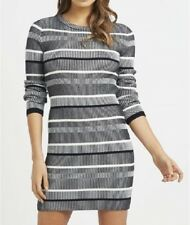 NEW Lipsy London Knitwear Dress Crew Neck Slim Fit Stripe Grey Womens Size M