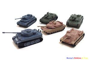 1 Set of Mini Plastic Tanks Model Kit (6 Different Tanks) Toy Soldiers Army Men