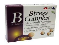 1X GSL stress B complex & vit C E zinc B12 B6 B2 B3 Folic Acid 30 tablet box NEW