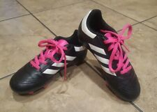 Adidas Youth Girls Soccer Shoes Cleats Black / Hot Pink - Size 12K