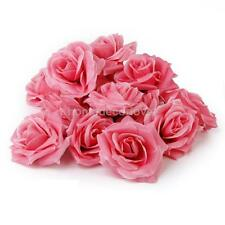 "20pcs Artificial Silk Roses Flowers Heads Wedding Decor 3.1"" Large- Pink"