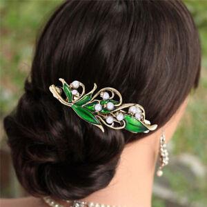 Retro Enamel Green Leaf Pearl Hair Clip Clamp Hairpin Women Hair Accessories DSU