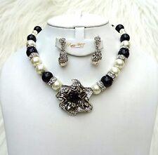 Quality Pearls Black & Cream White Beautiful Luscious Wedding Crystal Party Set