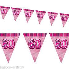 9ft PINK Glitz 60th Birthday Pennant Flag Banner Bunting Decoration