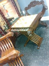 2 Vintage Savonarola Italian Folding Arm Chairs And 1 Chess Table. 3pc. Set