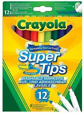 12 Crayola Supertips Bright Washable Lavable Markers Felt Tips Colour pens -12pk