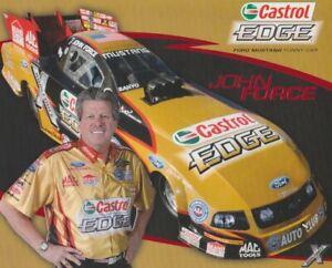 2009 John Force Castrol Edge Ford Mustang Funny Car Pomona NHRA Hero Card