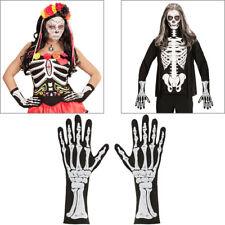SKELETT HANDSCHUHE SCHWARZ Sensenmann Knochen Gerippe Tod Kostüm Halloween 01088