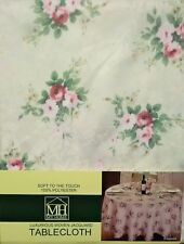 VINTAGE ROSE IVORY FLORAL SOFT TOUCH SQUARE TABLE CLOTH 52x52 INCHES
