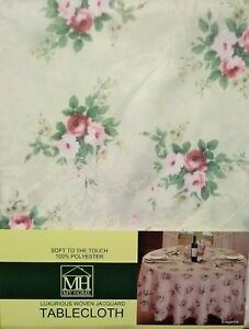 VINTAGE ROSE IVORY FLORAL SOFT TOUCH RECTANGLE OBLONG TABLE CLOTH 52x70 INCHES