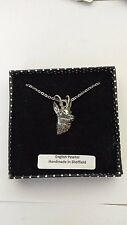 A50 Chamois / Gams english pewter 3D Platinum Necklace Handmade 18 INCH