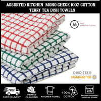 100% Cotton Kitchen Dish Cloth Mono Check Tea Towels Sets For Cleaning Drying