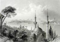 ISTANBUL CONSTANTINOPLE BLUE MOSQUE HAGIA SOPHIA ~ 1839 Art Print Engraving RARE