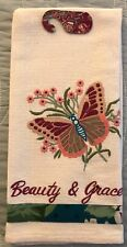 """April Cornell Mariposa / Butterfly Embroidered Tea Towel """"Beauty & Grace�. Nwt"""