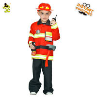 Boy Fireman Costumes Carnival Party Brave Firefighter Role-play Clothing for Kid