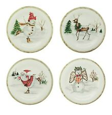 "Christmas Twig Ceramic Dinner Plates Set of Four 11"" Microwave & Dishwasher Safe"