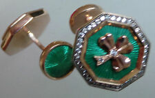 14ct gold Enamel Fabergé cufflinks (replica) Irish Shamrock St Patrick green