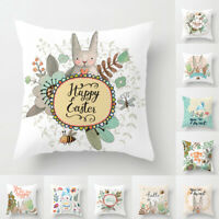 Qu_ KF_ Happy Easter Rabbit Flower Pillow Case Cushion Cover Sofa Bed Car Decor