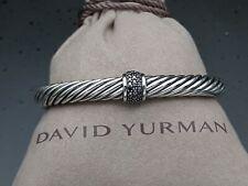 David Yurman 7mm Cable Classics Bracelet & Black Diamond Single Station size M