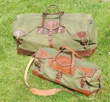 Vintage Lot of 2 GOKEY Gokey's Green Canvas Leather Duffle Bags Suitcase Luggage
