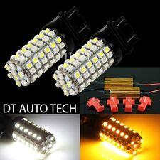 2X 3157 Dual Color Switchback White/Amber LED Turn Signal Light Bulbs+Resistors