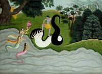 """oil painting handpainted on canvas""""Kaliya's wifes and Krishna""""@15837"""