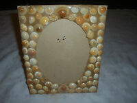 A Hand Crafted Coastal Themed Sea Shell Decorated Standing Board Picture Frame