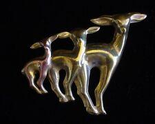 Vintage Retro Stylish Art Deco Style Sculptural Goldtone Brooch Pin of 3 Deers