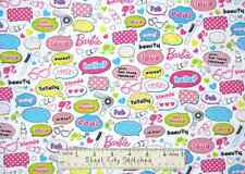 "Barbie Fabric - Words Love Cool Hearts Lipstick Mattel Barbie Silhouette 26"""
