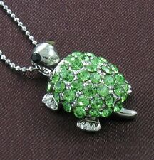 Green Crystal Stone Turtle Tortoise Animal Necklace Chain Pendant Silver Tone