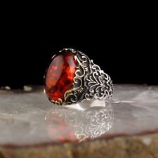 TURKISH HANDMADE 925 STERLING SILVER JEWELRY AMBER MEN'S RING #TR