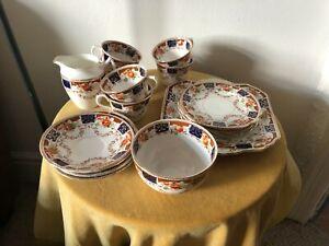 Vintage Imari Style  Tea Set 21 Pieces Cobalt orange Gold