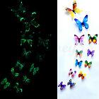 12 X 3d Luminous Butterfly Wall Stickers Home Decor Sticker Bedroom Kid
