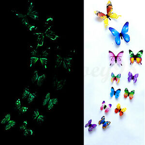 12 x 3D Luminous Butterfly Wall Stickers Home Decor Sticker Bedroom Kid