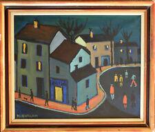 Henri AUTRAN (1926-2007). Beau et grand tableau. Coin de rue la nuit. Marseille.