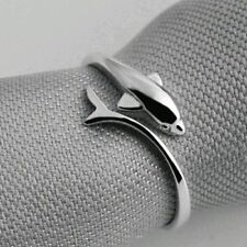 Women's/Girl's: Silver Plated White Gold 'Dolphin' Adjustable Size Dress Ring