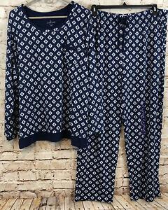 Cuddl Duds pajamas set womens Large geometric top pants NEW sleep navy blue B1