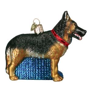 Old World Christmas GERMAN SHEPHERD (12212)N Glass Ornament w/ OWC Box