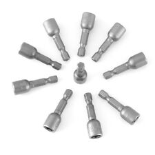 "10pcs Impact 1/4"" Hex Magnetic Nut Driver Set Metric Socket Drill Bits 42mm MF"