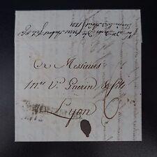 1801 LETTRE COVER DE PIEMONT GÊNES POUR LYON MARQUE MANUSCRITE D'ACHEMINEUR