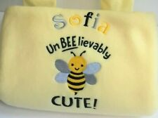 Personalised Baby Blankets, Super Soft Fleece, Embroidered Baby Bee, Bee Design