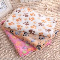 Pet Small Large Paw Print Dog Puppy Cat Guinea Pig Fleece Soft Blanket Beds Mat