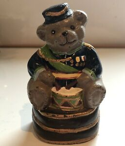 Kees Vintage Drummer Soldier Bear Door Stopper Height 11cm Collectable Cast Iron