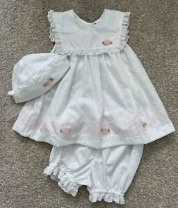 Little Bitty NWT Toddler Girl White Eyelet Dress Hat Bloomers Sz 3T