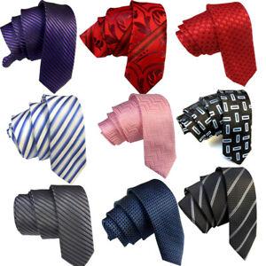 New Men's Slim Jacquard Necktie Formal Casual Skinny Narrow Thin 5cm Tie